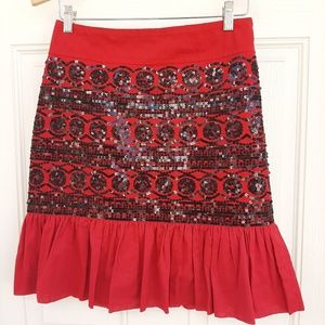 Anthropologie Red Sequined Skirt w/Ruffle Bottom
